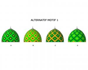 kubah masjid, motif kubah, desain, warna, enamel
