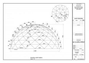contoh,gambar,rangka,struktur,atap,kubah,masjid,pipa,atap
