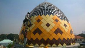 kubah masjid,rangka,struktur,pipa,hollow,atap,masjid,enamel,galvalum,warna,cat,bahan,plat,steel,stainless,warna,kuning,coklat,krem,plat steel,enamel panci,